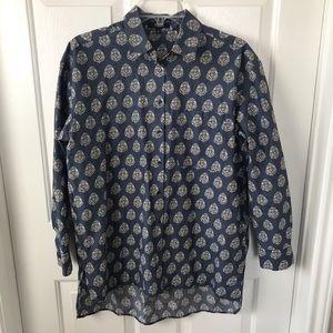 Madewell Women's Blue Print Button Down Shirt Sz S